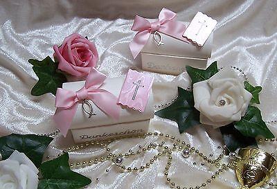 Gastgeschenk Bonboniere Kommunion/Konfirmation mit Gebetbuch & Fisch Weiß Rosa