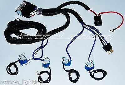 CERAMIC H4 HEADLIGHT 4 HEADLAMP LIGHT BULB SOCKET PLUG RELAY WIRING HARNESS 4x6