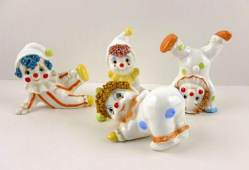 4 Adorable Enesco Little Clown Figurines