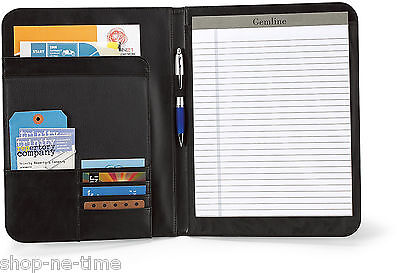 Gemline Cityscape Executive Black Leather Writing Pad Folio Tablet Folio -new