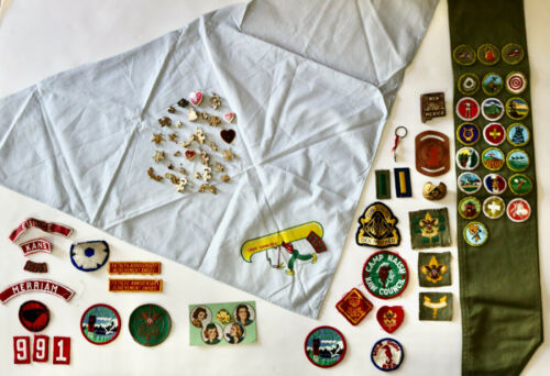 BOY GIRL CUB SCOUTS vintage patches scarf pins lot Chief Yawgoog