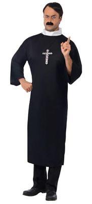 Smi - Karneval Herren Kostüm Priester lange Robe in schwarz Pfarrer