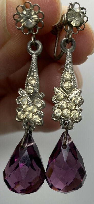 VTG Art Deco French Paste Pot Metal Crystal Rhinestone Dangle Screwback Earrings