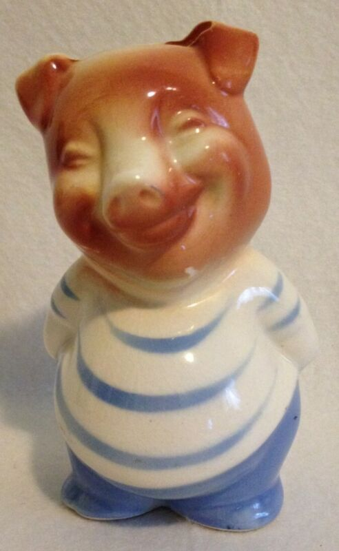Royal Copley Vintage Smiley Pig in striped shirt piggy bank