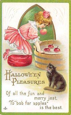 Halloween,Mädchen Schaukeln für Äpfel,Katze,Stecher Pub Series 226 # B,C.1907-14 ()
