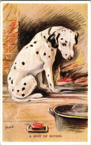 """1935 DALMATION Postcard, MAC Valentines Dog Tailwagger, """"A Spot of Bother"""""""