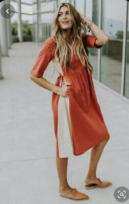 Roolee Panel Side Tie Modest Midi Dress Short Sleeve Linen Cotton Sheath Shift S Side Panel Dress