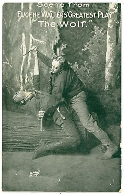 "Vintage Photo Postcard Scene From ""The Wolf"" Eugene Walter's 1908 Stage Play"