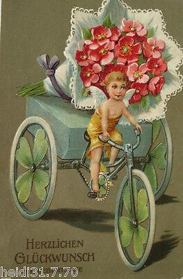 """""""Fahrrad, Engel, Dreirad, Blumen"""" 1911, Prägekarte ♥ (17808)"""