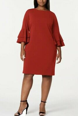 Calvin Klein Plus Size Tiered-Bell-Sleeved Dress