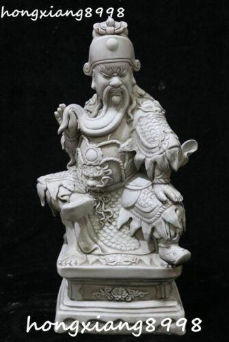 """16"""" Chinese Dehua Porcelain Guangong Guan Gong Yu Warrior God Dragon Statue"""
