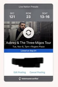 4 Drake Tickets - Lower Bowl - Nov 6