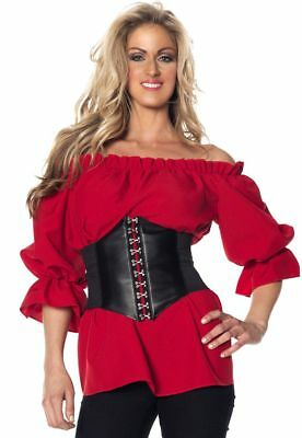 Pirate Blouse Renaissance Red Shirt Gypsy Peasant Adult Women Top Plus Size XXL - Pirate Adult