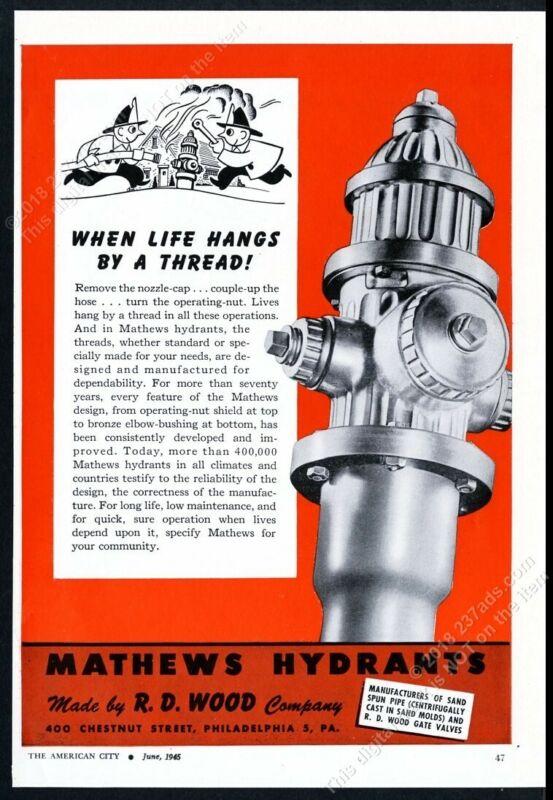 1945 Mathews fire hydrant photo H D Wood vintage print ad 3