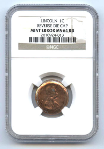 LINCOLN CENT (1C) REVERSE DIE CAP-NGC MS64RD-RARE-MINT ERROR