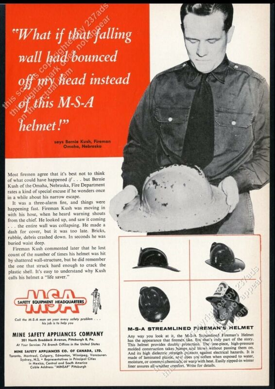 1955 MSA streamlined fire helmet Omaha NE fireman photo vintage trade ad