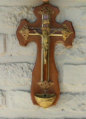 Antique French religious Crucifix cross christ wood