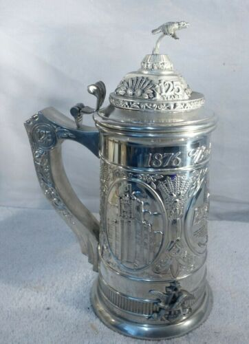 BUDWEISER 125TH ANNIVERSARY LIDDED PEWTER STEIN LIMITED EDITION