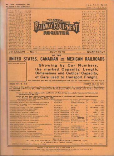 Official Railway Equipment Register  July 1970  ORER RR