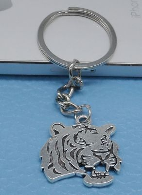 Tiger Keychain (Free Ship 1pcs Key Ring Keychain Jewelry Silver Plated Tiger head Charms)