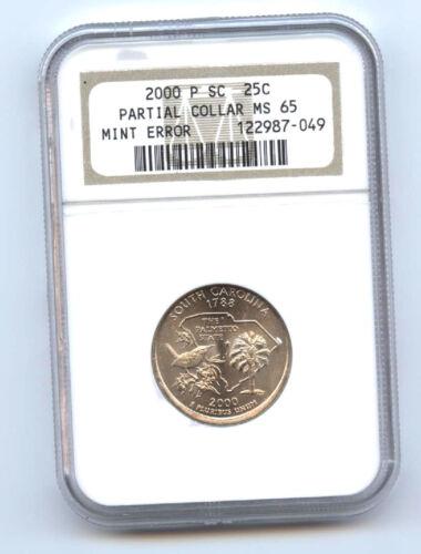 2000-p South Carolina 25c Partial Collar-ngc Ms65 -mint Error