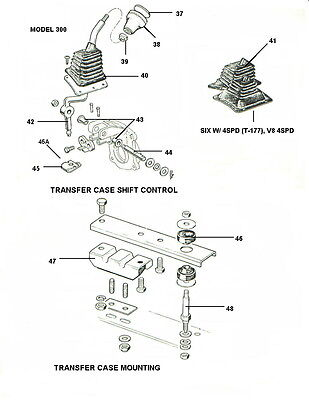 Dana 300 Shifter Lever Shaft & Bushings 1980-1986 Jeep CJ