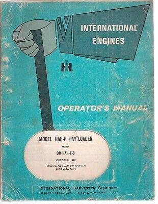 International Hah-f Pay Loader Operators Manual