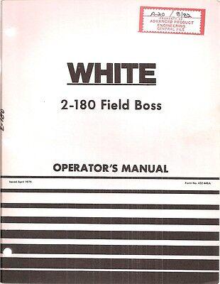 White 2-180 Field Boss Tractor Operators Manual