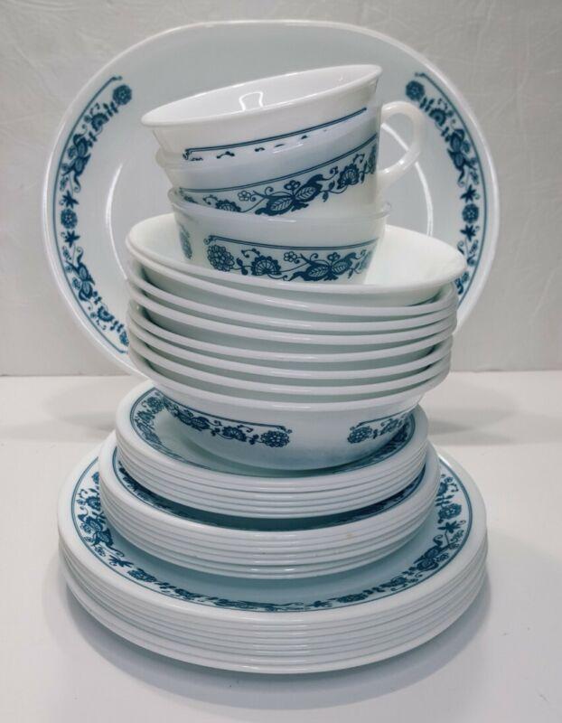 Corelle Old Town Blue Onion Plates Bowls Cups 34 pieces Many UNUSED pcs