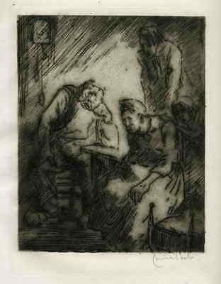 VERZWEIFLUNG  Louise IBELS OriginalRadierung zu ZOLAs GERMINAL 1929 Handsigniert