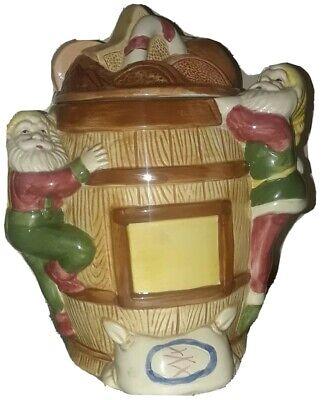 Vintage Santa's Workshop Elves on Barrel COOKIE JAR Christmas Treats