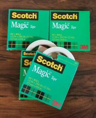 Lot Of 4 Scotch Magic Tape 810 Jumbo Rolls By 3m 12 X 2592 Vintage