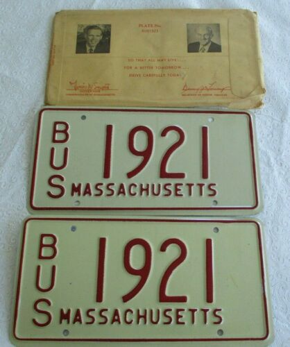 1970s Massachusetts Bus License Plate Pair 1921 with envelope