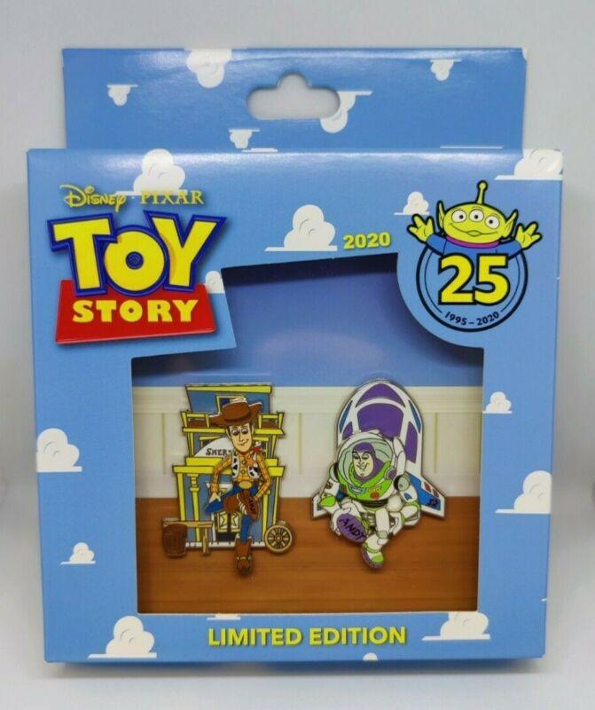 Toy Story 25th Anniversary Buzz Lightyear & Sheriff Woody Disney Pixar 2 Pin Set