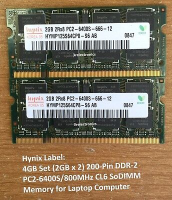 4GB Kit (2GBx2) 200-Pin DDR2 PC2-6400S 800MHz SODIMM LAPTOP MEMORY Dell HP (200 Pin Ddr Laptop)
