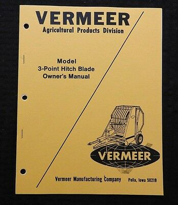 Genuine Vermeer 3 Point Hitch Blade Operators Manual Parts Catalog