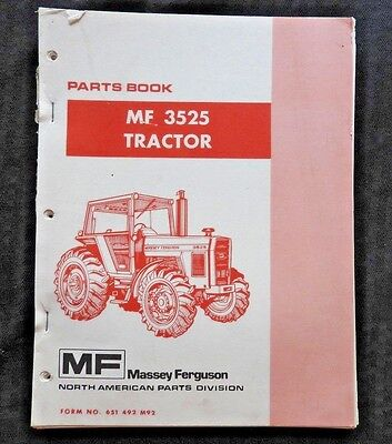 Genuine Massey Ferguson Mf3525 Mf 3525 Tractor Parts Catalog Manual Very Good