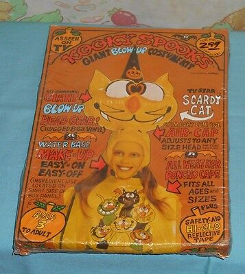 Kooky Spooky Halloween Costume (vintage KOOKY SPOOKS SCARDY CAT blow-up Halloween costume new/sealed)