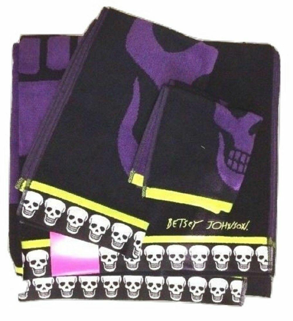 Betsey Johnson Mega Skull Black Purple Bath Sheet Hand Towel