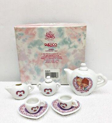 "Enesco Precious Moments 7 Pc Miniature Tea Set ""LOVE ONE ANOTHER"" 1992 S Butcher"