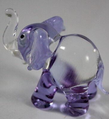 (Purple Elephant Figurine Animal Hand Blown Glass Handmade Handcraft Miniature )