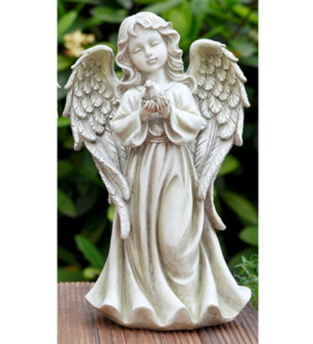 Angel Holding Dove Garden Statue Outdoor Decor
