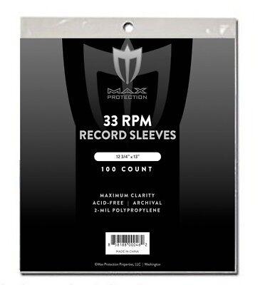 1000 Max Record 33 1/3 RPM LP Album Acid Free Archival Poly Sleeves 12 3/4 X 13