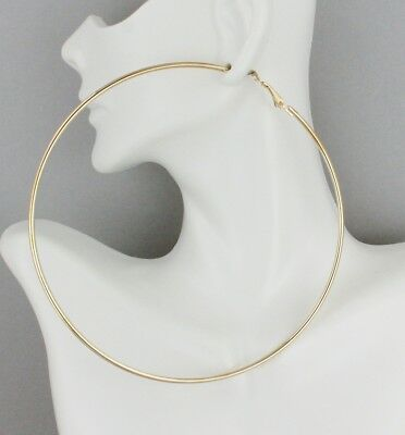 Gold hoop earrings Big Huge Giant 4.25