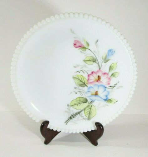Vintage Westmoreland Milk Glass Hand Painted Beaded Plate Blue and Pink Flowers