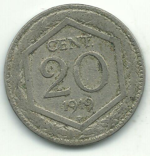VERY NICE 1919 R ITALY 20 CENTESIMI COIN-MAR320