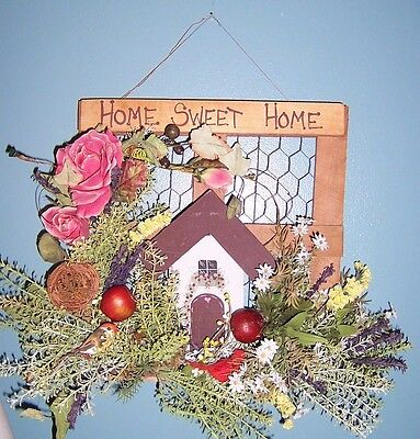 HOME SWEET HOME Floral Wood Birdhouse Roses Door Wall Hanging