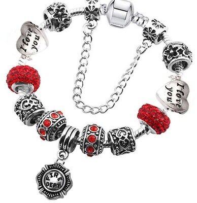 Wife Mom Red Heart I Love You Silver Fire Dept Firefighter Bead Charm Bracelet](Mom Charm Bracelet)