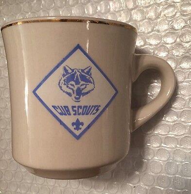 Vintage BSA Boy Scouts of America Cub Scouts Ceramic Gold Rim Coffee Diner Mug