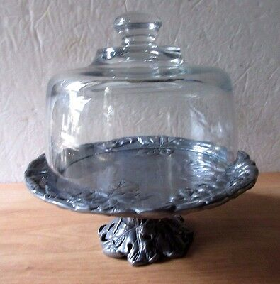 Arthur Court Grapes Motif  Silver Cake Pedestal Server Stand with Glass Dome ()